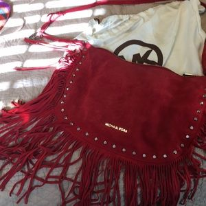Handbags - Michael Kors red suede fringe purse